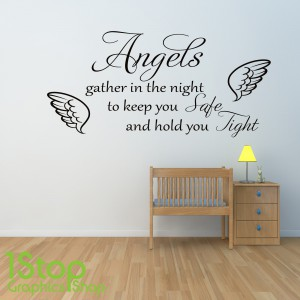 ANGELS GATHER IN THE NIGHT WALL STICKER
