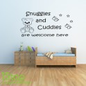 SNUGGLES AND CUDDLES WALL STICKER QUOTE - KIDS NURSERY WALL ART DECAL X267