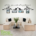 I LOVE YOU PERSONALISED PHOTO WALL STICKER QUOTE - LOUNGE WALL ART DECAL X272