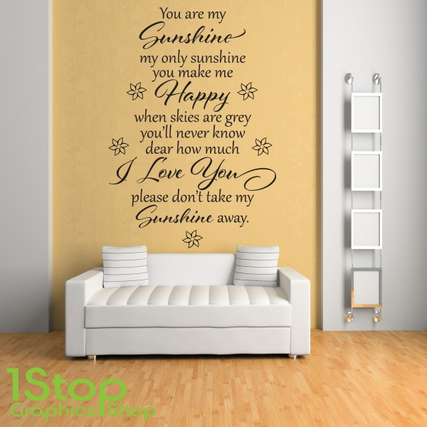 YOU ARE MY SUNSHINE WALL STICKER QUOTE - BEDROOM HOME LOVE WALL ART ...