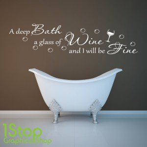 DEEP BATH AND GLASS OF WINE WALL STICKER