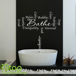 BATHROOM WORDS SOAK BATHE WALL STICKER