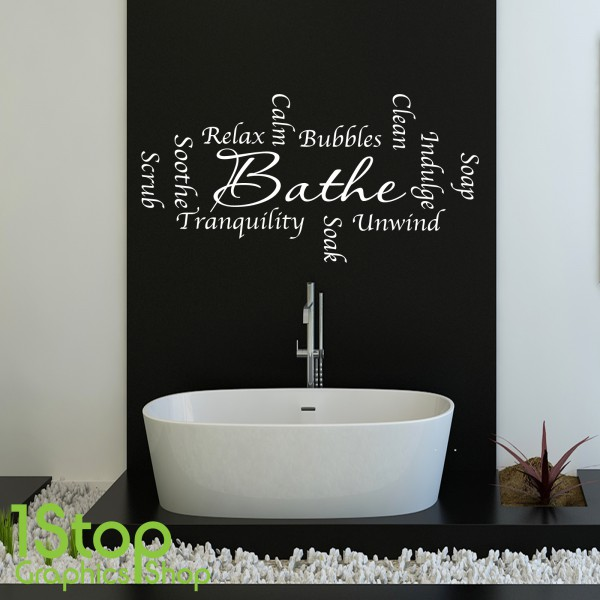 BATHROOM WORDS SOAK BATHE WALL STICKER QUOTE