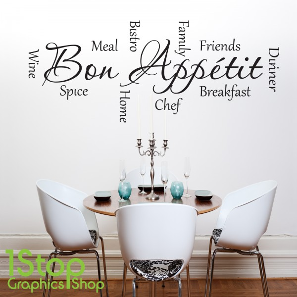 Bon appetit wall sticker quote kitchen home love wall for Autocollant mural texte