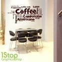 COFFEE WORDS WALL STICKER QUOTE - KITCHEN HOME LOVE WALL ART DECAL X283