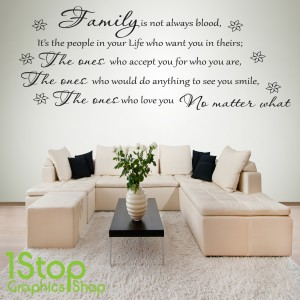 FAMILY IS NOT ALWAYS BLOOD WALL STICKER