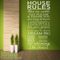 HOUSE RULES WALL STICKER QUOTE - BEDROOM LOUNGE LOVE WALL ART DECAL X289