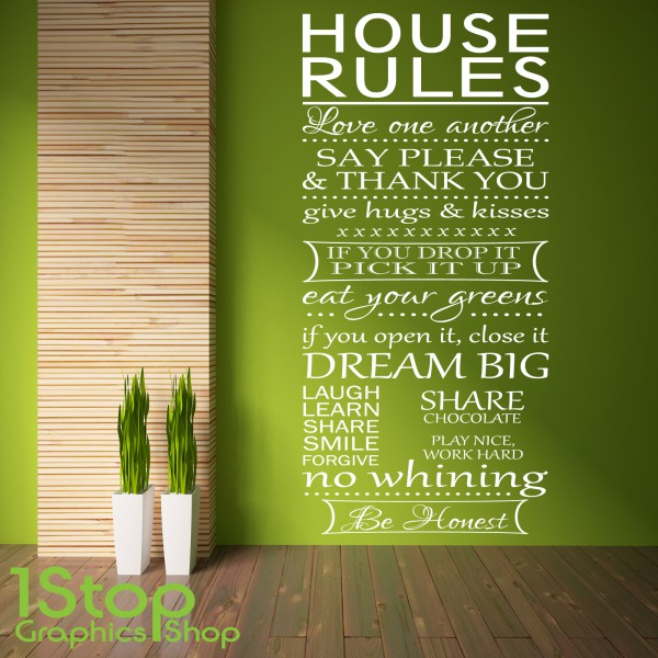 HOUSE RULES WALL STICKER QUOTE - BEDROOM LOUNGE LOVE WALL ART DECAL ...