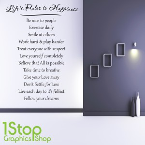 LIFE'S RULES TO HAPPINESS WALL STICKER