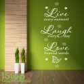 LIVE LAUGH LOVE WALL STICKER QUOTE - BEDROOM LOUNGE HOME WALL ART DECAL X294