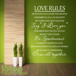 LOVE RULES WALL STICKER