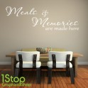MEALS AND MEMORIES WALL STICKER QUOTE - KITCHEN HEART HOME WALL ART DECAL X302