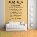 RECIPE FOR LOVE WALL STICKER QUOTE - BEDROOM LOUNGE HOME WALL ART DECAL X304
