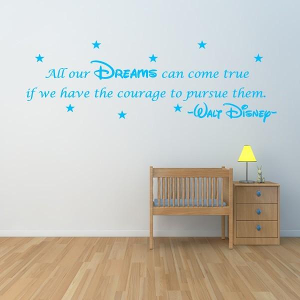 disney wall sticker quote kids girls boys dream wall art decal x58
