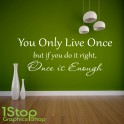 YOU ONLY LIVE ONCE YOLO WALL STICKER QUOTE - BEDROOM HOME WALL ART DECAL X315